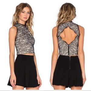 Alice + Olivia Emery Lace Crop Top in Black